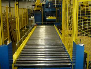 Automation system with roller conveyor