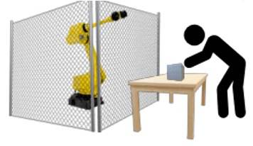 Fenced robot next to worker at workstation.