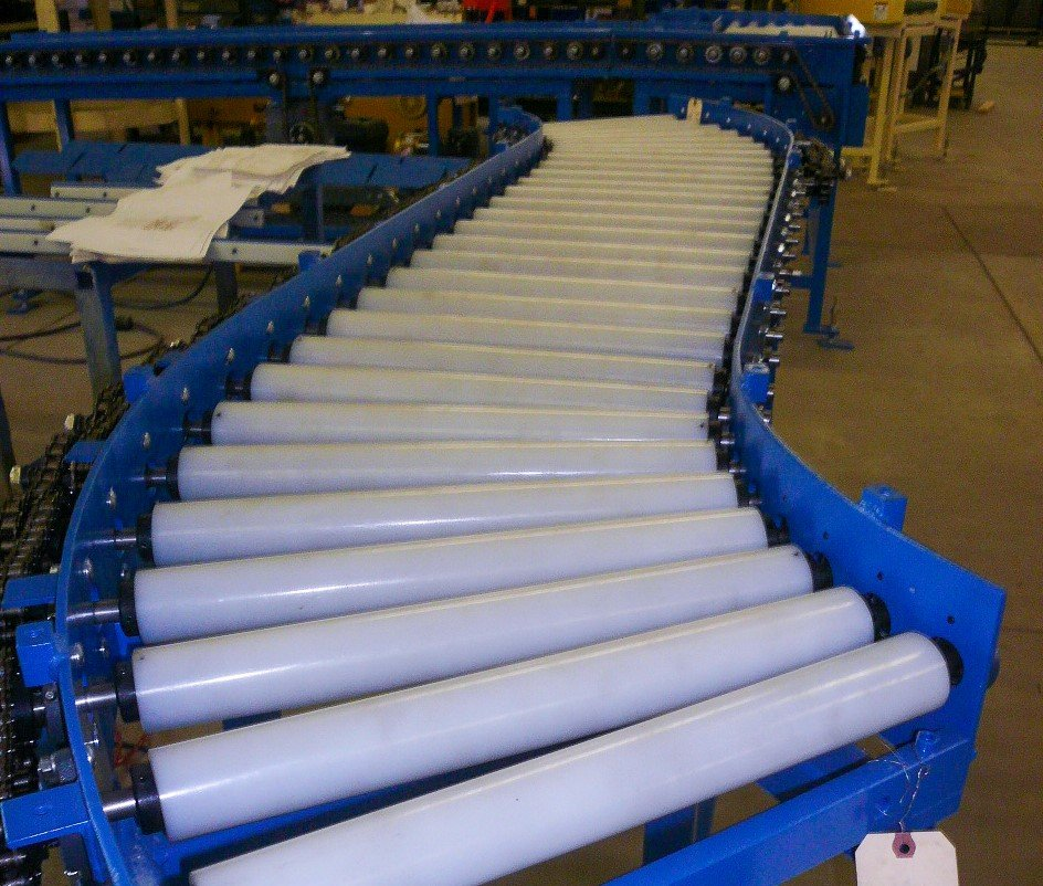 Curved rollers on PRM conveyor