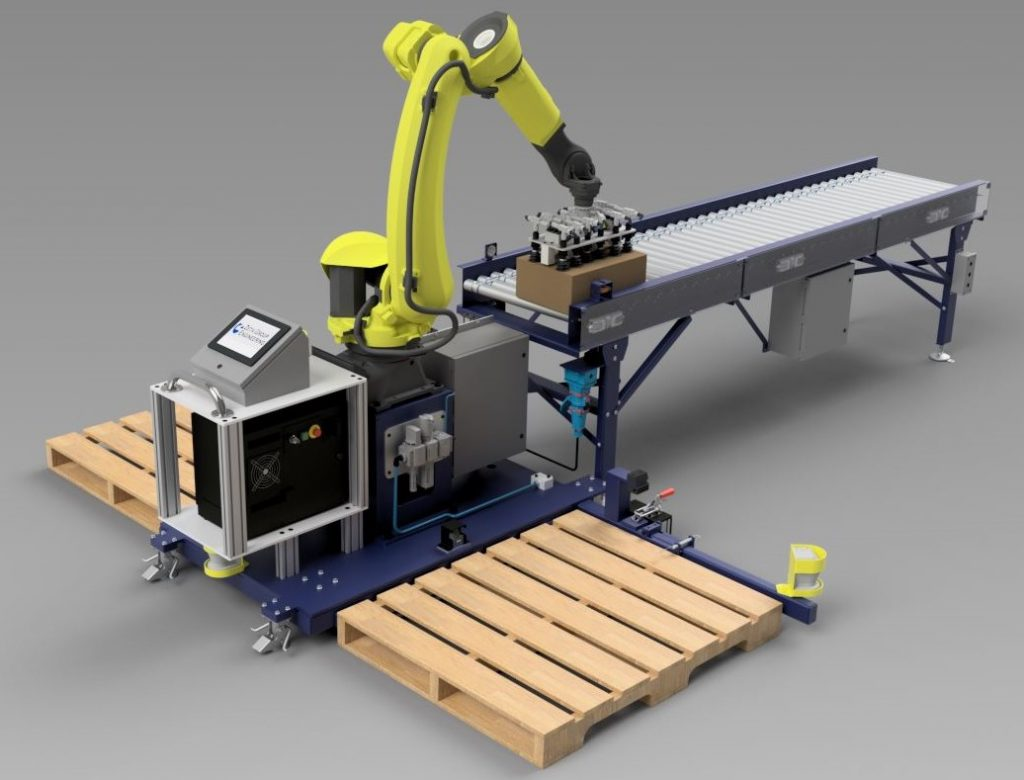 Mobile palletizer rendering with Fanuc M-20 robot