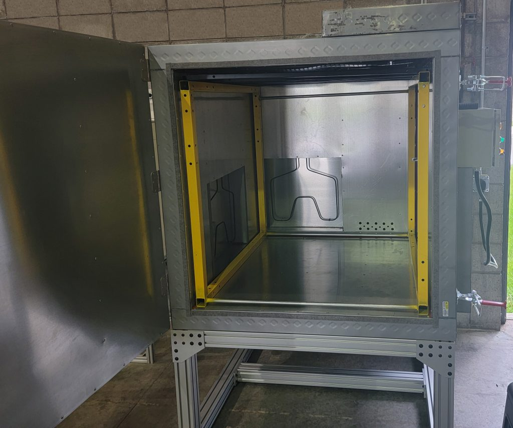 Inside of powder coat oven